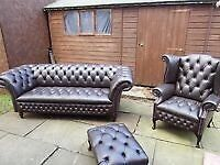 Chesterfield sofa and chair plus foot stool