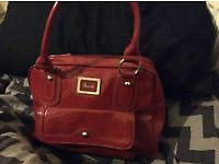 Harrods Red Patent Leather Designer Bag with silver plaque detail