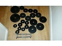 Metal weight plates and bars 69kg
