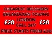 RECOVERY BREAKDOWN TOWING TRUCK 24/7 SERVICE CAR LONDON TRANSPORTER EAST LONDON