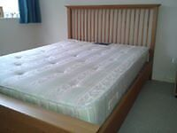 Oak frame double bed complete with mattress