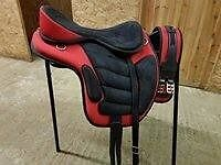 """17"""" red and black complete synthetic treeless saddle."""