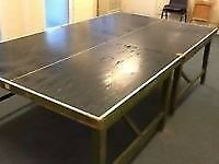 Vintage Table tennis table, full size, solid wood, needs new top. Free to good home.
