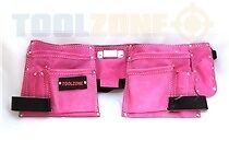 PINK DOUBLE LEATHER TOOL POUCH