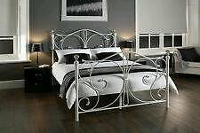 New Metal Bed with Crystal Finials + Mattress