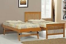 wooden single bed with trundle , very good condition , clean mattersses