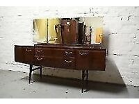 1950s Meredew Vintage Retro Dressing Table with triple mirror