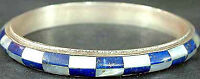 Sterling silver Bangle with Inlay of Lapis and Shell