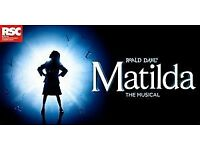 2 X MATILDA TICKETS AMAZING SEATS 2 ROWS FROM STAGE BIRMINGHAM SATURDAY AUGUST 25TH £150 PAIR