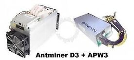 BARGAIN - Bitmain Antminer D3 Dash Miners X11 19.3Gh/s +5% - include PowerSupply
