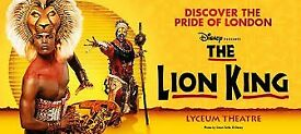 4 x The Lion King Lyceum Theatre 2nd December 2017