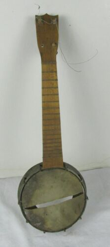 Rare Very Old metal body Antique Vintage Banjolele Ukulele Banjouke Patent Pend