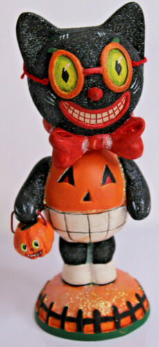Dept 56 Halloween Black Cat Pumpkin Trick or Treat Bobble Head Figurine 56.34587