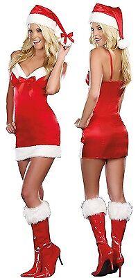 Sexy Mrs Santa Claus Satin Mini Merry Christmas Present Hat Bow Costume - Sexy Mrs Santa Kostüm