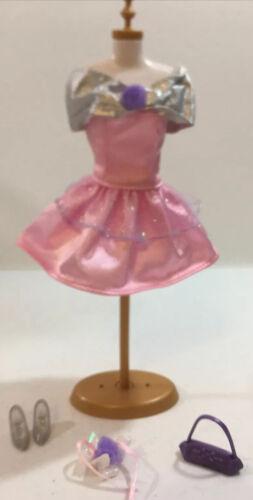 VTG Mattel Doll Clothing Genuine Barbie 80s 90s Fashion Pink Silver Dress Set - $9.99