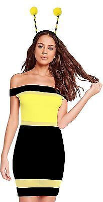 Womens Bug Bumble Bee Black Yellow Costume Adult  Fancy Dress Insect Outfit - Bumble Bee Fancy Dress Costume Adults