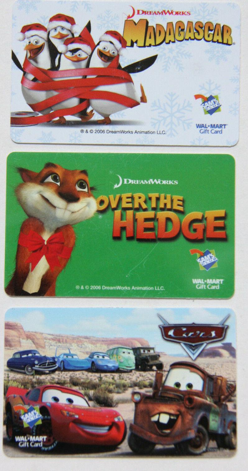 3 WALMART/SAM S CLUB - CARS - MADAGASCAR - OVER THE HEDGE GIFT CARDS - $4.99