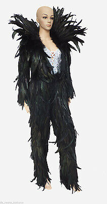 Da NeeNa JF Vegas Parade Woman Man Devil Black Feather Coat Jacket Pants XS-XL - Black Parade Kostüm