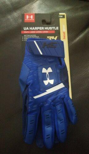 Under Armour UA Harper Hustle Batting Gloves BLUE Youth Smal