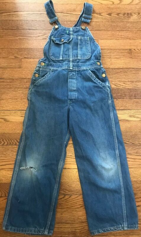 Vintage Pointer Brand Denim Overalls Kids Youth 1960s?  Elastic Straps Bibs