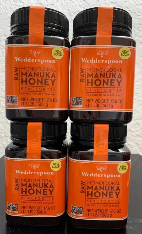 Wedderspoon 🐝Raw Monofloral Manuka Honey KFactor 16, 4 Large Bottles 17.6 Oz 🍯