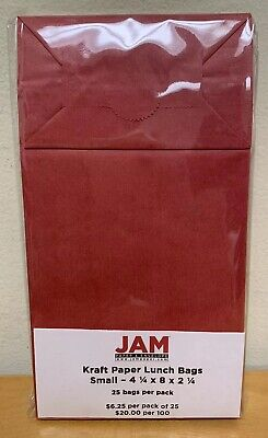 Jam Paper Durable Snacklunch Bags - Small 4 14 X 8 X 2 14- Red Kraft Grocer