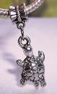 Turtle Swimming Tortoise Zoo Animal Dangle Bead Gift for European Charm Bracelet
