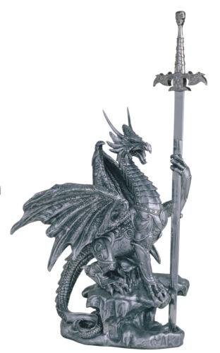18 INCH SILVER DRAGON AND SWORD FIGURINE