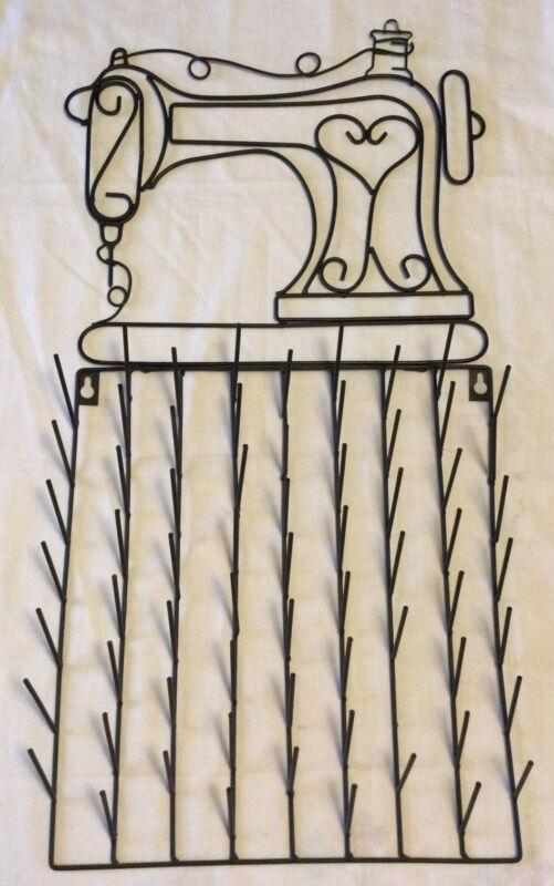 Vintage Coated Wire Metal Sewing Machine Design Thread Spool Rack Holder