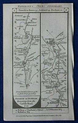 Original antique road map YORKSHIRE, DURHAM, BARNARD CASTLE, Paterson, 1785