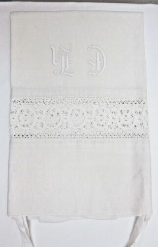 Antique  HANDWOVEN  and HAND EMBROIDERED MONOGRAM PILLOWCASE - from Sweden