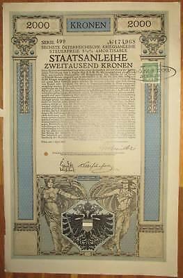ÖSTERREICH AUSTRIA 6. Kriegsanleihe 2.000 Kronen 1917 Austrian War Loan