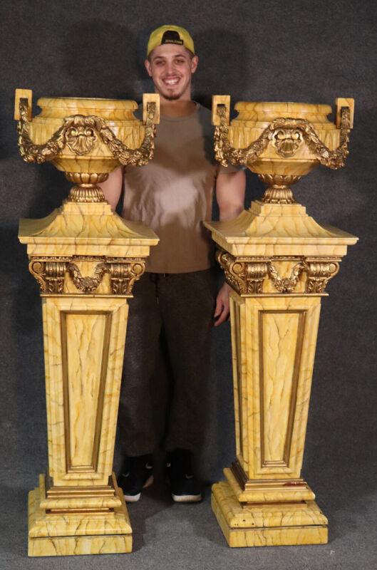 HUGE Custom-paint Decorated Faux Marble Carved & Gilded Pedestal Plantstands