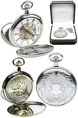Jean Pierre Twin-Lid Skeleton Pocket Watch CP with Free Engraving (g251c)