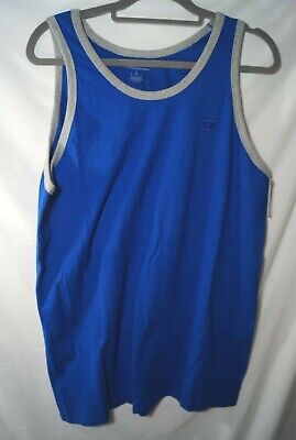 Champion Men's Classic Jersey Ringer Tank Top Blue Oxford Gray Large