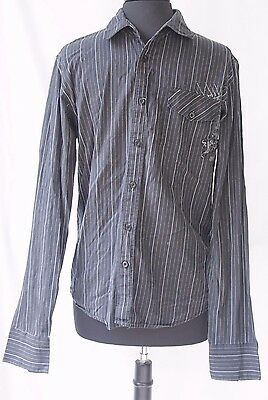 Mens Fox Racing Shirt Medium Black Pinstriped Fox Deluxe Button Down Motocross for sale  Shipping to India