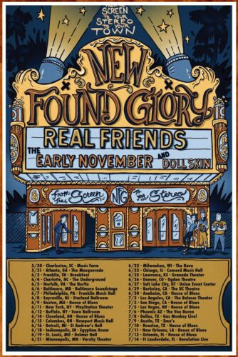 NEW FOUND GLORY From The Screen To Your Stereo 2019 Tour Ltd Ed New RARE Poster
