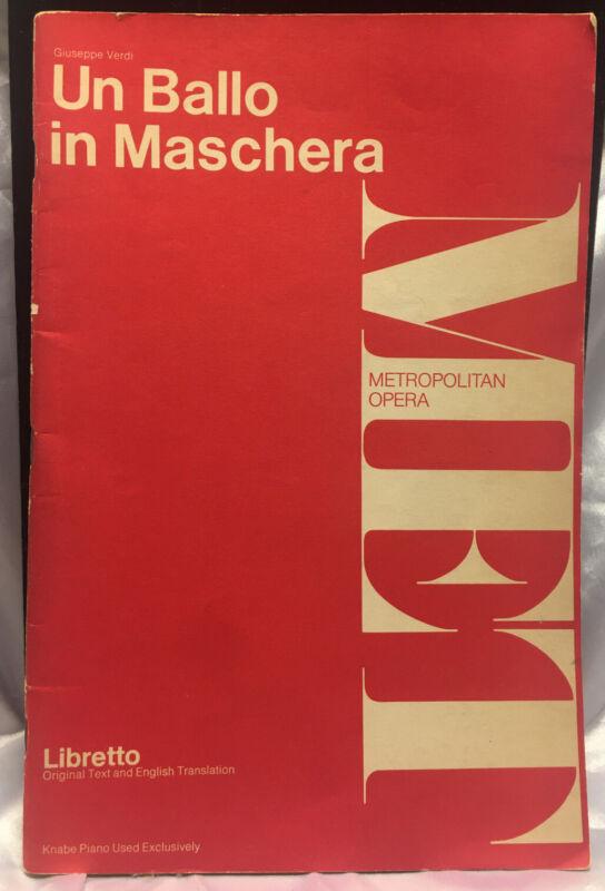 Giuseppe Verdi Un Ballo In Maschera Metropolitian Opera Libretto Original Text