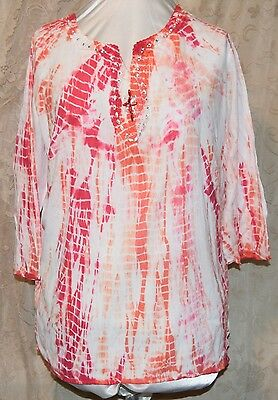 OSO CASUALS  SO PRETTY COTTON TIE DYE TUNIC BLOUSE 3/4 SLEEVE CROCHET CRYSTAL1X