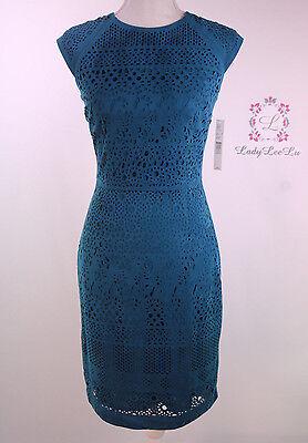 Antonio Melani Womens Blue Emerd Faux Suede Sheath Dress Size 12 14 Nwt