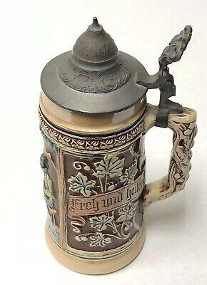 Vintage Ceramic German Stein Beer Mug Der Zitherspieler OLD CASTLE #887-2