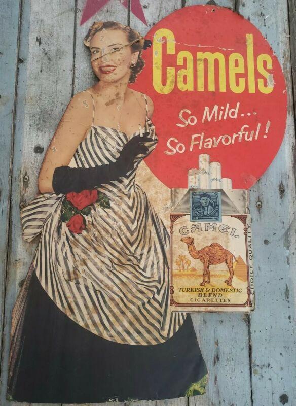 Vintage1940s-50s CAMEL Cigarettes Cardboard Advertising Sign