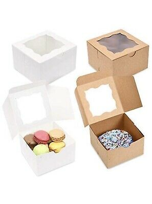Pack Of 50 Brown Bakery Boxes With Window 4x4x2.5 For Small Pastries