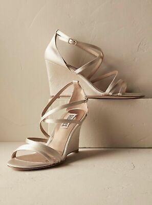 Badgley Mischka Bonanza Ivory Satin Women's Evening Wedge High Heels Sandals 6 M Satin Wedge Sandal