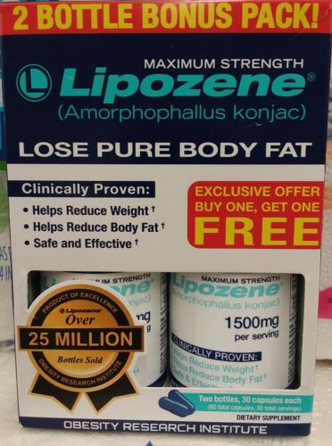 SALE!!!  2 Pack Lipozene Maximum Strength Weight Loss 60 capsules Free Shipping!