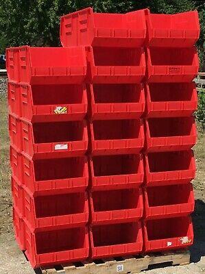 Lot Of 40 Uline S-12422 Plastic Stackable Bins Storage Totes Industrial Bins