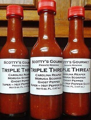 Triple Threat - Carolina Reaper, Moruga Scorpion, Ghost - Super Hot Pepper Sauce