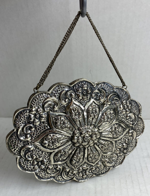 900 SILVER IMPORTED TURKISH FLORAL OVAL WEDDING VANITY MIRROR HANGING DECOR