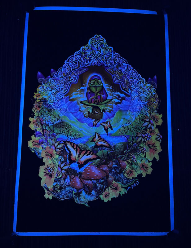 Vintage 1998 Musical Frog Michael Dubois Butterfly Clarinet Blacklight Poster
