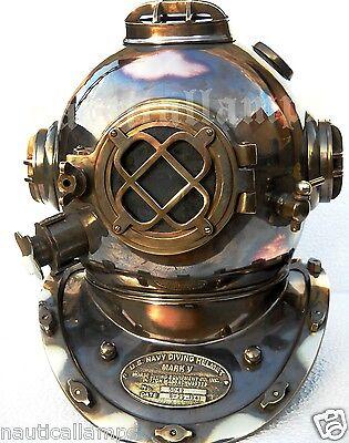 Antique U.S Navy Brass Divers Diving Helmet Mark V FULL SIZE Deep sea Scuba gift